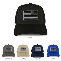 XXL Oversize Black Grey USA Flag Patch Mesh Back Trucker Bas