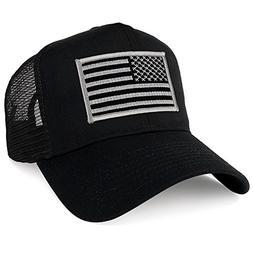 Armycrew XXL Oversize Black Grey USA Flag Patch Mesh Back Tr