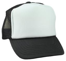 DALIX Youth Cap Trucker Cap in Black and White